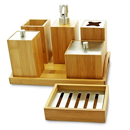 Bois de bambou naturel Lot de 7 accessoires pour salle de bain Gia