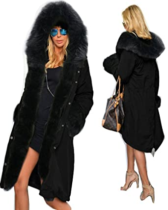 Roiii Women's Winter Faux Fur Hooded Plus Size Parka Jacket Coat ...