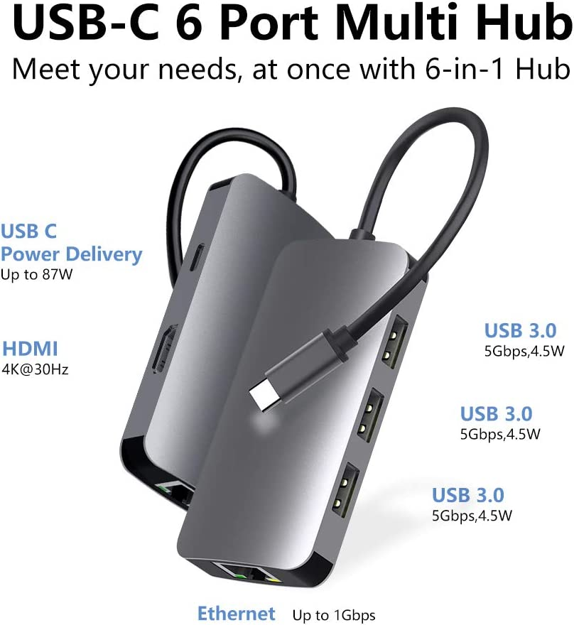MacBook Pro Adapter USB C Dongle PD Charging Port for MacBook//Pro and Type C Devices 4K USB C to HDMI 6 in 1 USB C to HDMI Multiport Adapter with 1000M Ethernet Haribol USB C Hub 3 USB 3.0 Ports