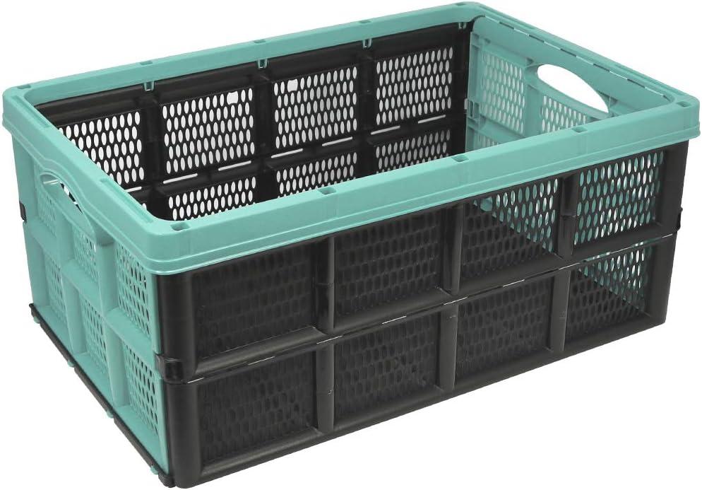 com-four® Caja Plegable de 32 litros - Caja de Transporte con Asas - Caja de almacenaje Robusta - Cesta de la Compra Plegable (50.5x33x22cm - 01 Pieza - Turquesa Pastel)