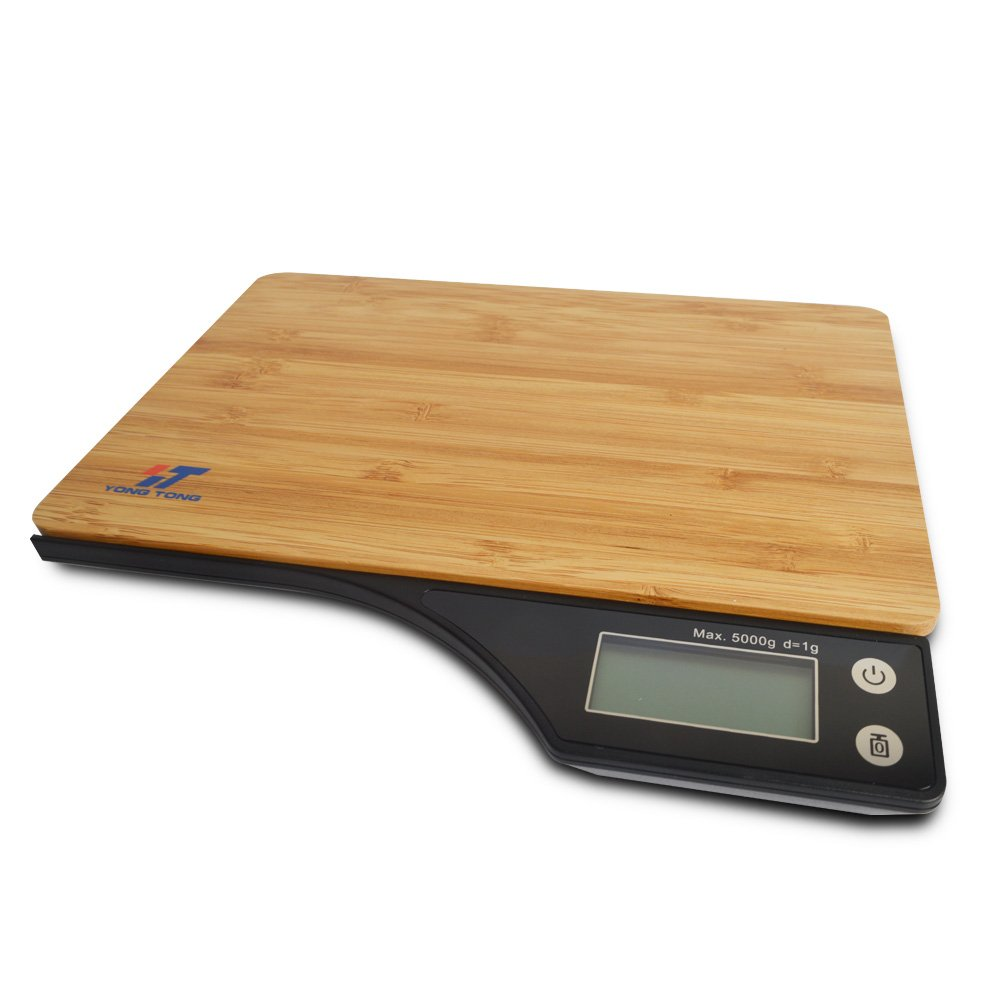 Yongtong Bamboo Digital Kitchen Food Scale, Household Cooking Weighing with Tare Feature, 2 AAA Batteries Included, with Highly Accurate Electronic LCD, 5000g/11.lb/176oz