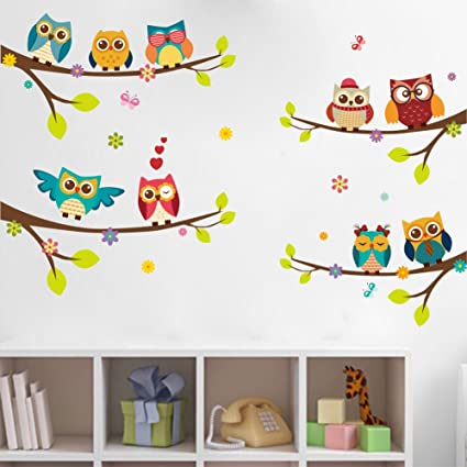 WandSticker4U- Wandtattoo 9 süsse EULEN auf Ästen | Wandbilder: 120x100 cm  | Fensterbilder Baum-Zweig Blumen Vogel Schmetterlinge | Fenster-Aufkleber  ...