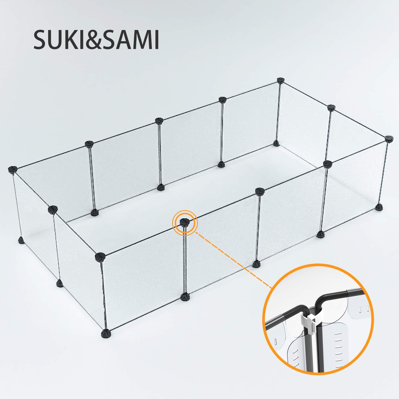 Suki et Sami Enclos pour Petit Animal Cage DIY Portable Cage pour Animaux en intérieur, Exercice Stylo Cour Clôture pour Cochon d'Inde, Lapins 35* 35Blanc SUKI&SAMI SS003P