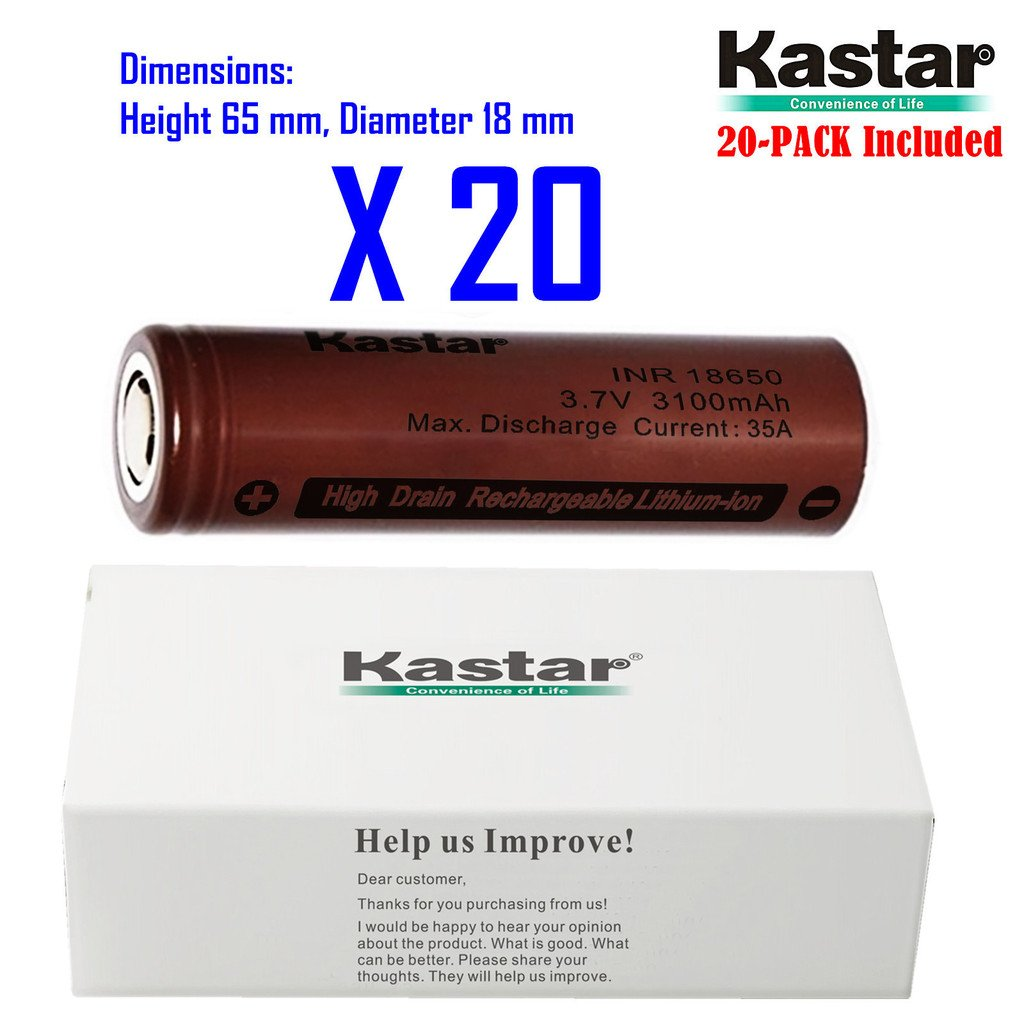 Kastar INR18650 (20-Pack) High Drain (35A Max. current load) Lithium-ion Battery, 3.6V 3100mAh Rechargeable Flat Top Battery for Electric Tools, Toys, LED Flashlights and Torch ect.