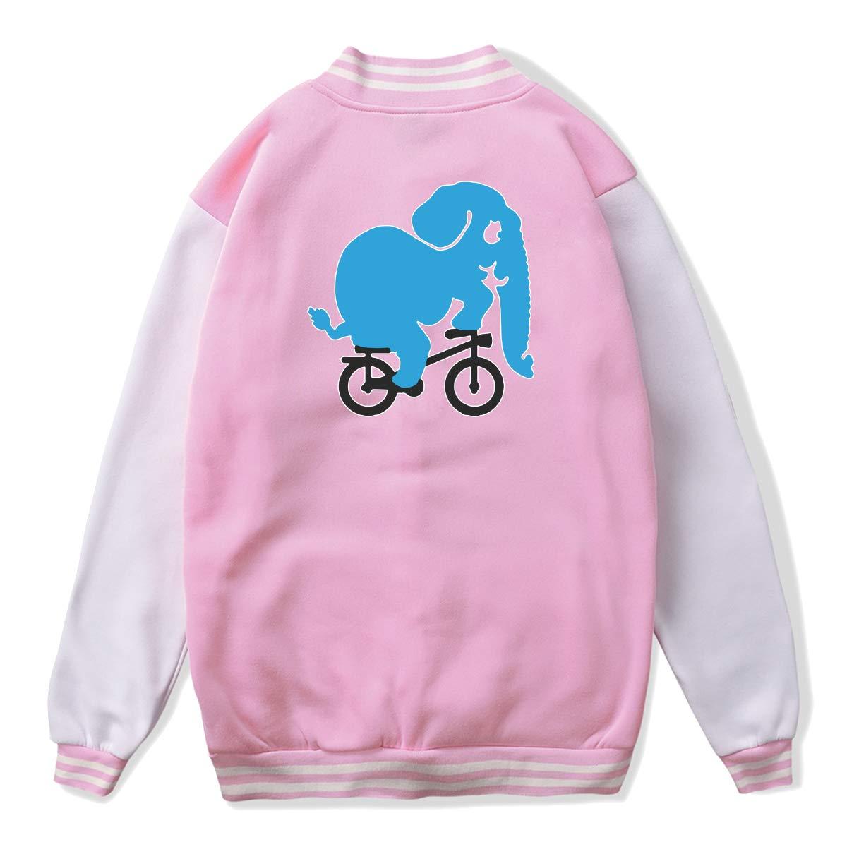 NJKM5MJ Unisex Youth Baseball Uniform Jacket Blue Elephant Riding Bike Hoodie Coat Sweater Sweatshirt Back Print