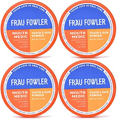 Natural Oral Care - MOUTH MEDIC Tooth Powder, 4 Pack, Botanically Clean, Teeth-Whitening, Remineralizing, Fluoride Free, Gluten Free, SLS Free, Restores Enamel and Freshens Breath, 8 oz