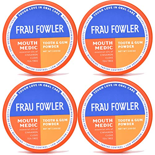 Natural Oral Care – MOUTH MEDIC Tooth Powder, 4 Pack, Botanically Clean, Teeth-Whitening, Remineralizing, Fluoride Free, Gluten Free, SLS Free, Restores Enamel and Freshens Breath, 8 oz