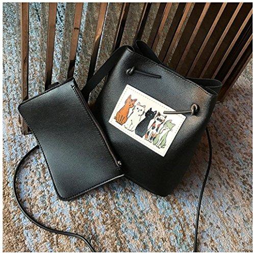 gaddrt de las mujeres Casual bolso de hombro bolsa bolsa bolso de mano 2pcs Set, diseño de piel de gato Cruz Cuerpo Bolso de mano Negro