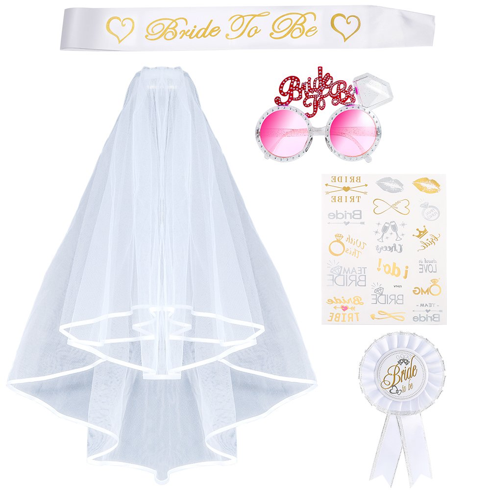 Pllieay Hen Party Veil Hen Do Accessories Including Bridal Wedding Veil with Comb White, Bride To Be Sash, Bride To Be Sunglasses, Hen Party Tattoos, Rosette Badge for Hen Night Party
