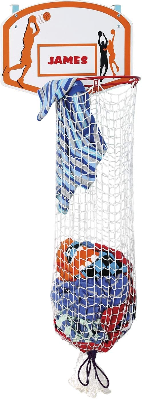 Bundaloo Basketball Laundry Hamper - Over The Door 2 in 1 Hanging Basketball Hoop Or Laundry Hamper Boys & Girls Room Decor - Fun Gift