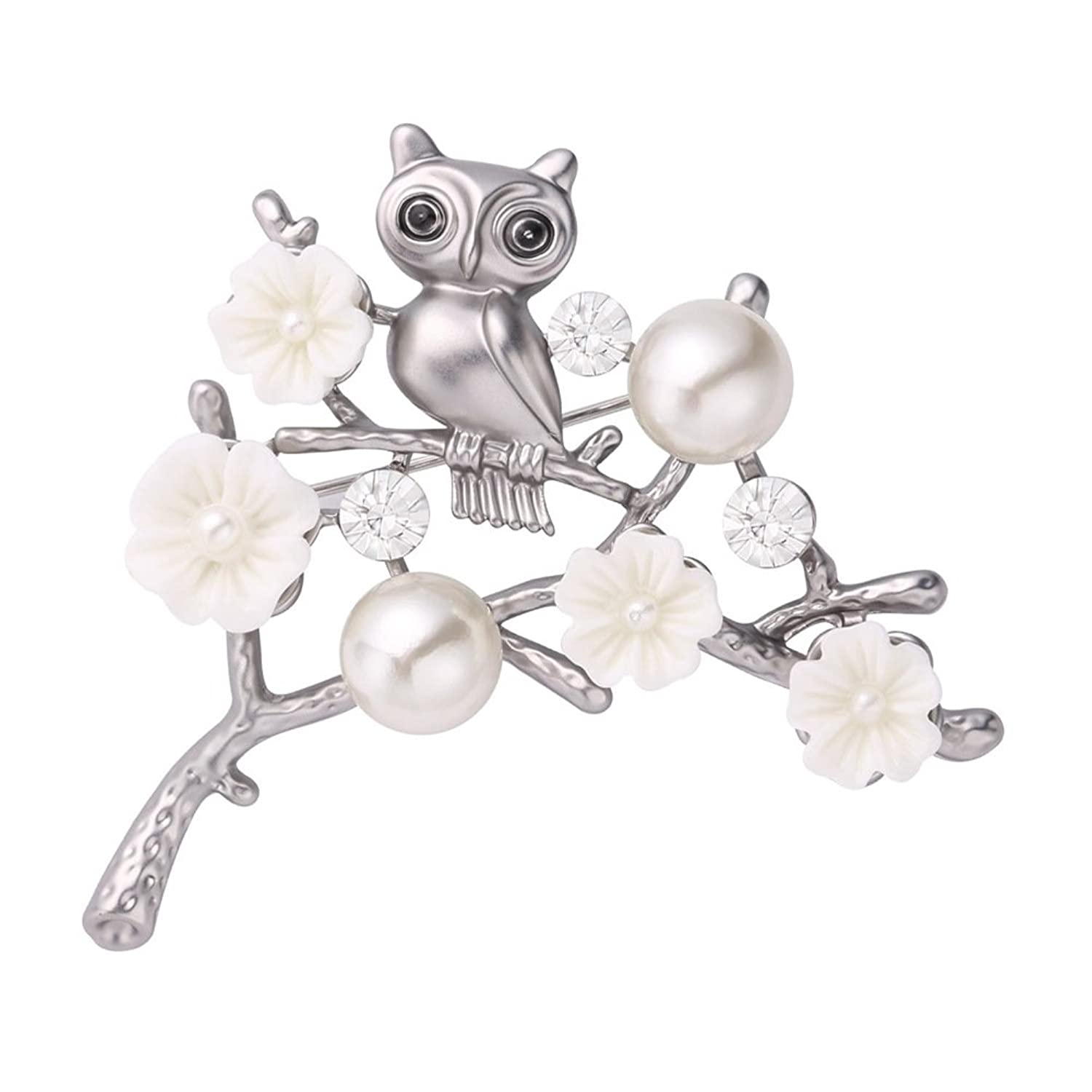 Brooch Bouquet Platinum Plated Bird Owls on Branch Scarf Clip Jewelry Pin Brooches for Women