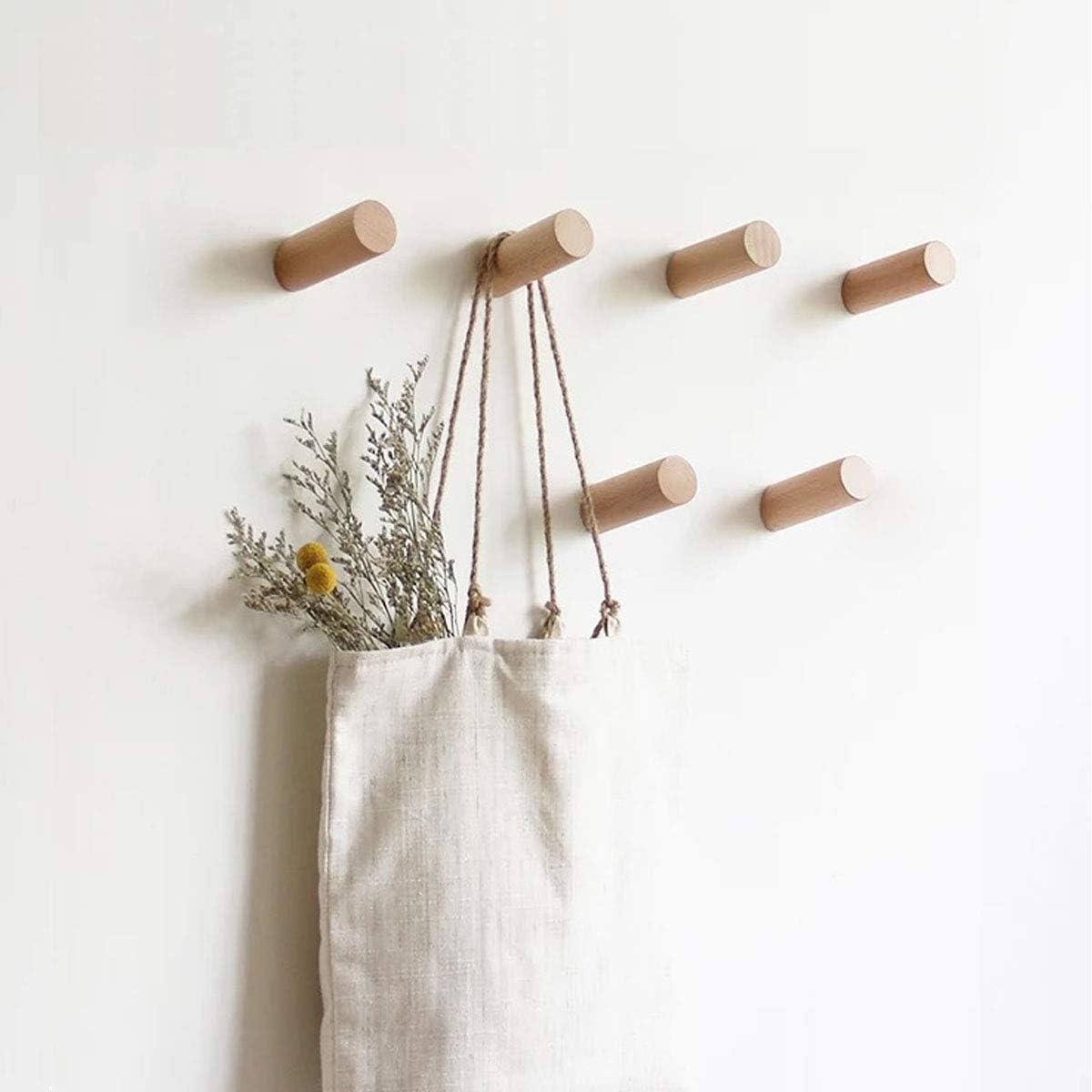 HomeDo 5 Pack Wooden Coat Hooks Wall Mounted, Single Organizer Hat Rack, Vintage Handcraft Hanger (Beech Wood 5Pcs, 3inch)