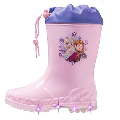 567d2b442347 Disney Stivali Pioggia Frozen con luci a LED Bambino 24 25 26 27 28 29  Inverno