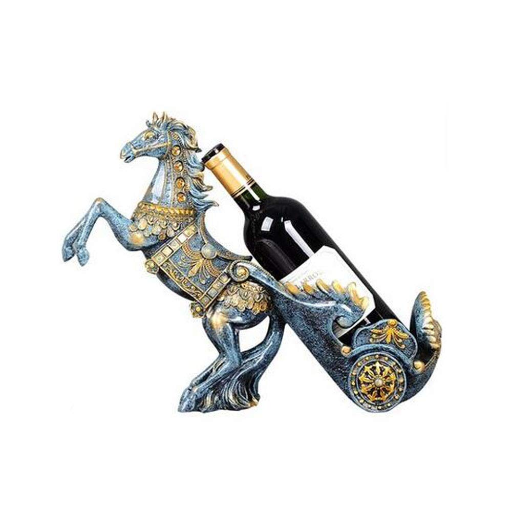 Living Room Guyuexuan Desk Decoration Decorative Ornaments Wine Cabinet Display Ashtray Home Accessories Horse-Drawn Cart Color : Blue Wine Rack Office Table