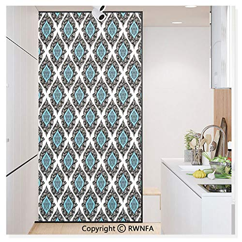 Non-Adhesive Privacy Window Film Door Sticker Baroque Victorian Style Antique Renaissance Shapes Background Fashion Artwork Glass Film 23.6 in. by 78.7in. (60cm by 200cm),Black Aqua White