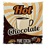 1950s Decor Tablecloth Old Hot Chocolate Commercial from the Past in Funky Shaded Color with Pure Cocoa Beans and Mug Dining Room Kitchen Rectangular Table Cover