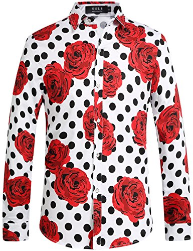 SSLR Men's Floral Cotton Button Down Long Sleeve Hawaiian Shirt (Large, White-Dots)