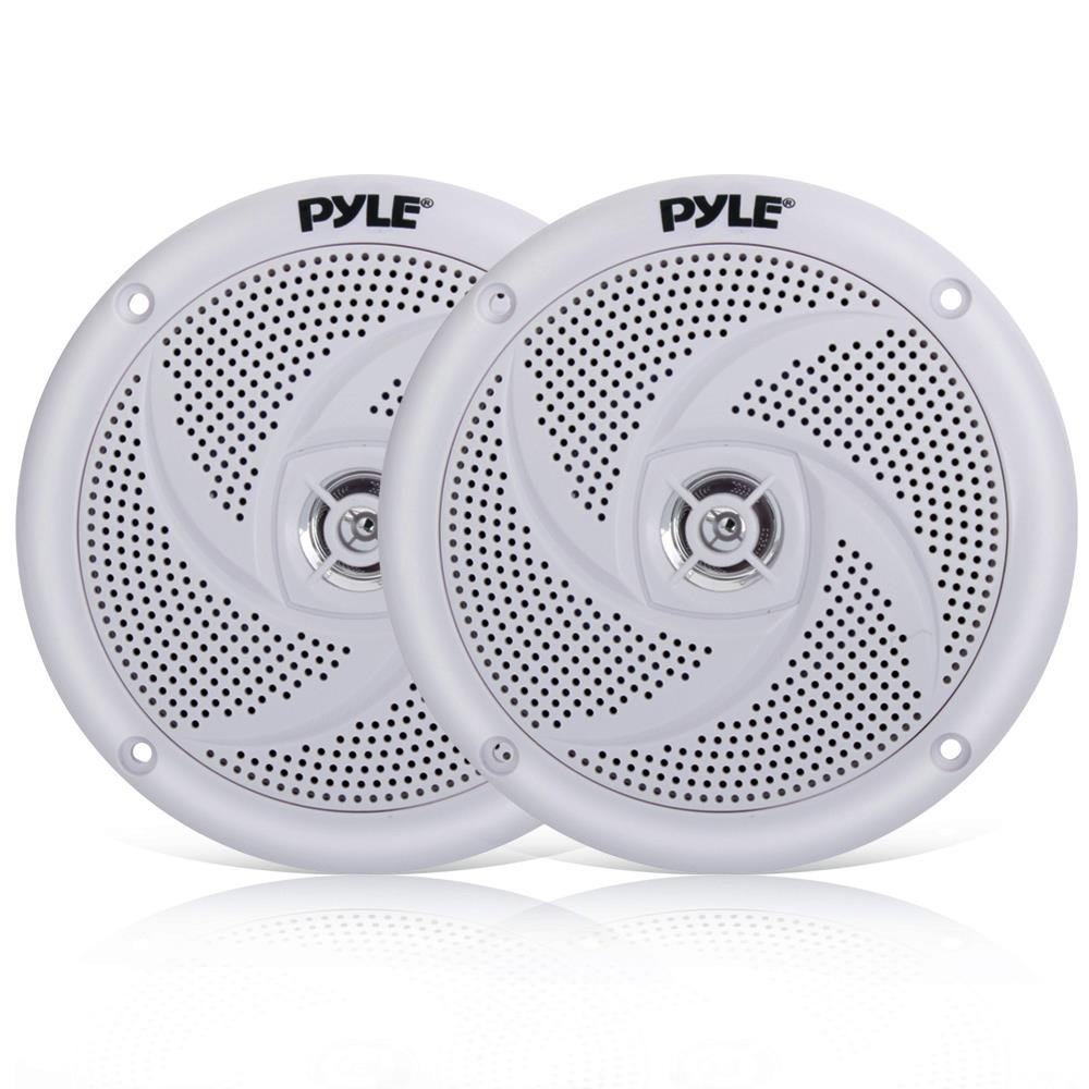 Pyle Marine Speakers - 5.25 Inch 2 Way Waterproof and Weather Resistant Outdoor Audio Stereo Sound System with 240 Watt Power and Low Profile Slim Style - 1 Pair - PLMRS5W (White)