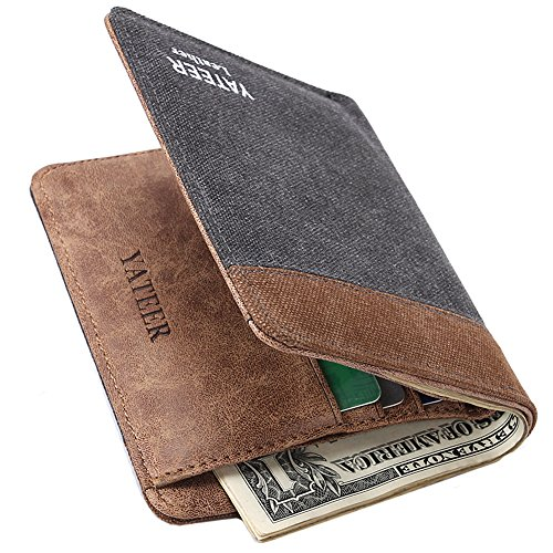 Mens Classic Bifold Wallet With Leather Lining Minimalist Brown Canvas Credit Card Wallet