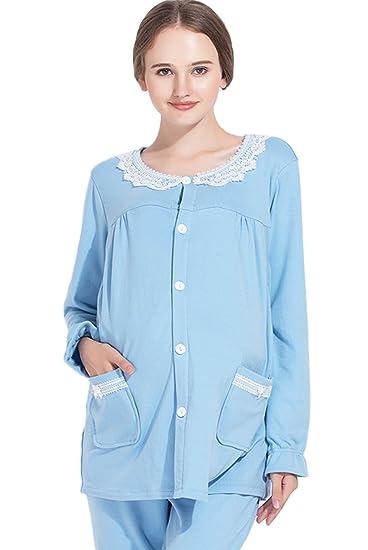 528e6c5e9d0ea Maternity Nursing Breastfeeding Pajamas Autumn Clothes Soft Cotton Long  Sleeve Nightgown