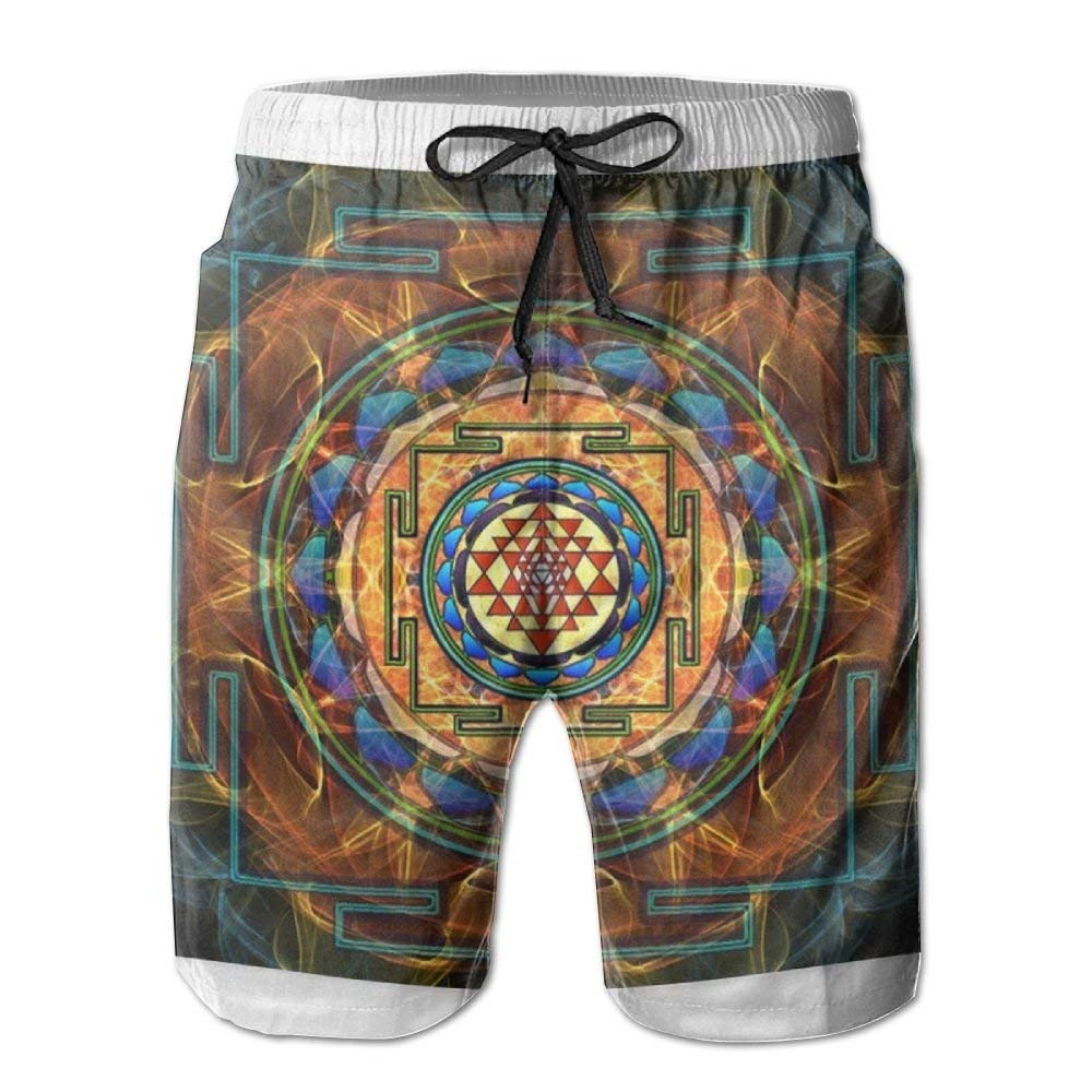 CCGGJPYI Mens Summer Beachwear Quick Dry Board Shorts Casual Athletic Beach Surfing Shorts for Sacred Geometry Pattern