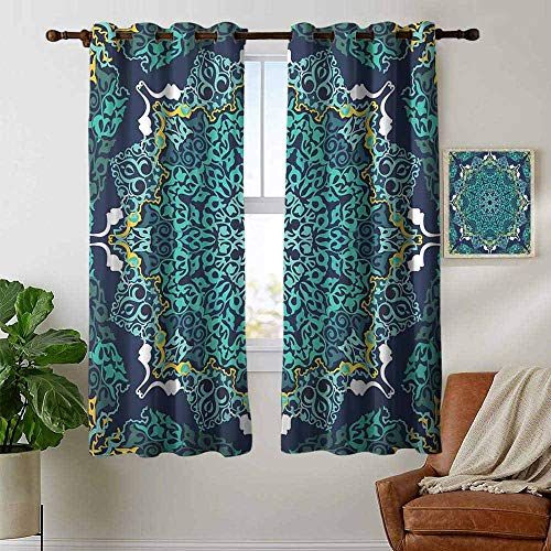 (petpany Bedroom Curtain Turkish Pattern,Authentic Motifs of Ottoman Culture Round and Floral Shape,Turquoise Dark Blue Yellow,Insulating Room Darkening Blackout Drapes 52