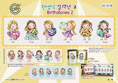 Kitchen Cross Stitch Pattern - SO-G138 Birthstones 2, SODA Cross Stitch Pattern leaflet, authentic Korean cross stitch design, cross stitch pattern chart, color printed on coated paper