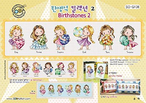 SO-G138 Birthstones 2, SODA Cross Stitch Pattern leaflet, authentic Korean cross stitch design, cross stitch pattern chart, color printed on coated paper (Pattern Cross Stitch Kitchen)