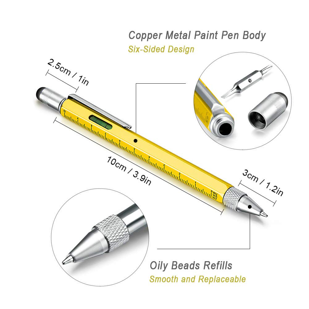 Useful Gadgets for Men , Multi Tool Pens for Mens Gifts , Touch Screen Stylus Pen , Ballpoint Pen with Scale Ruler , Spirit Level ,Small Screwdriver Set ( Flat-Head And Phillips ) , 4 The Pen Refills , Presents for Men , Personalised Gifts