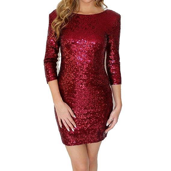 Vestidos Mujer Mini vestido sin espalda atractivo Vestidos de noche de lentejuelas Vestido de fiesta con mangas 3/4 Vestido de club nocturno slim fit ...
