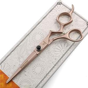 HEMATITE Japan 440C steel inch cutting scissors and thinning scissors combination Hair salon barber styling tool set (6 inch rose gold cutting scissors)