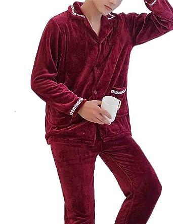 6eb4f6381a74 VaeJY Men s Winter Cozy Warm Fleece 2 Piece Outfits Thick Nightwear Pajamas  Set Wine Red US