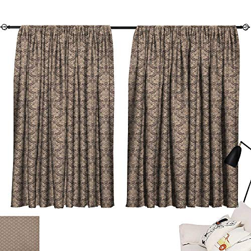 (Warm Family Antique Insulated Sunshade Curtain Venetian Vintage Flowers with Swirling Lines Renaissance Revival Curvy Tile Set of Two Panels 72