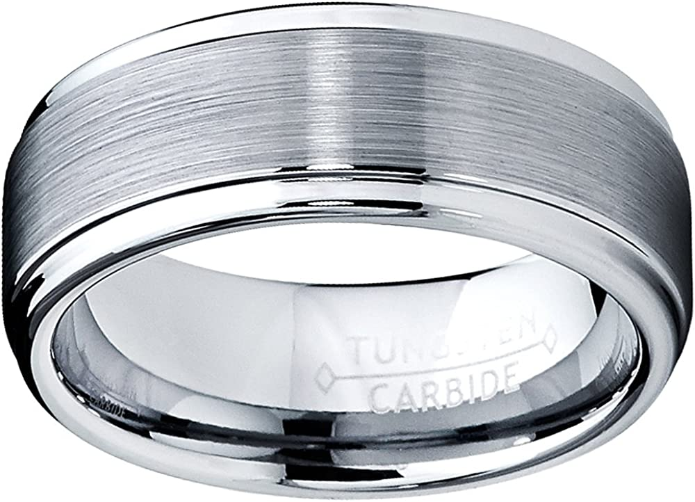 8MM High Polish/Matte Finish Men's Tungsten Ring Wedding Band Sizes 7 to 15