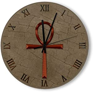 PotteLove 15 Inch Silent Vintage Wooden Round Wall Clock Non Ticking Quartz Battery Operated, Photo Realistic Wood Effect & Copper Look Ankh Rustic Chic Style Wooden Round Home Decor Wall Clock