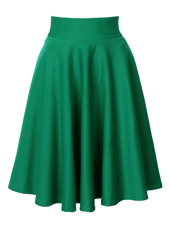 CHOiES record your inspired fashion Women's Green Casual Fashion Plain High Waist Midi Skater Skirt L