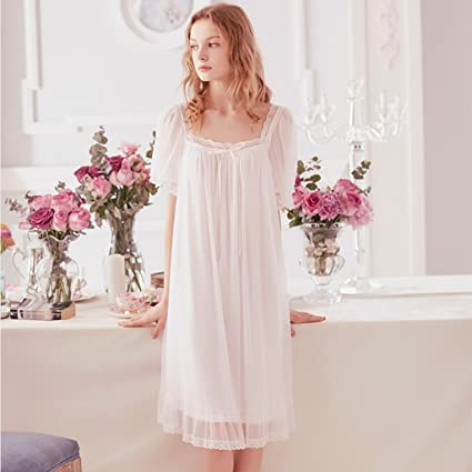 215eb71bbf Nightgowns Princess Nightgown Pajamas Summer Retro Sexy Cute Short-Sleeved  Lace Gauze Sweet Nightdress  Amazon.ca  Home   Kitchen
