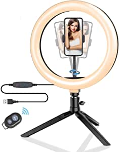 """10.2"""" Ring Light with Stand, BlitzWolf LED Ring Light with Stand and Phone Holder for YouTube Video Live Stream Makeup Photography, Dimmable Selfie Ring Light with 3 Light Modes & 11 Brightness Level"""