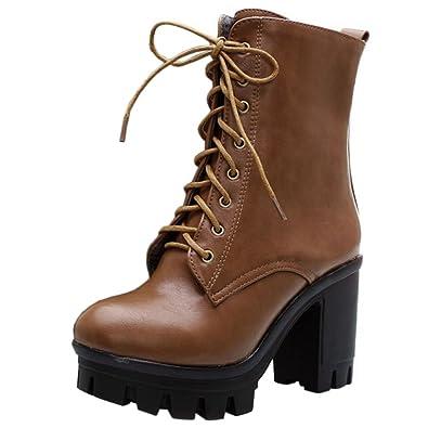 COOLCEPT Damen Mode Schnürung Combat Boots Plateau Kurzschaft Stiefel (34  EU, Brown)