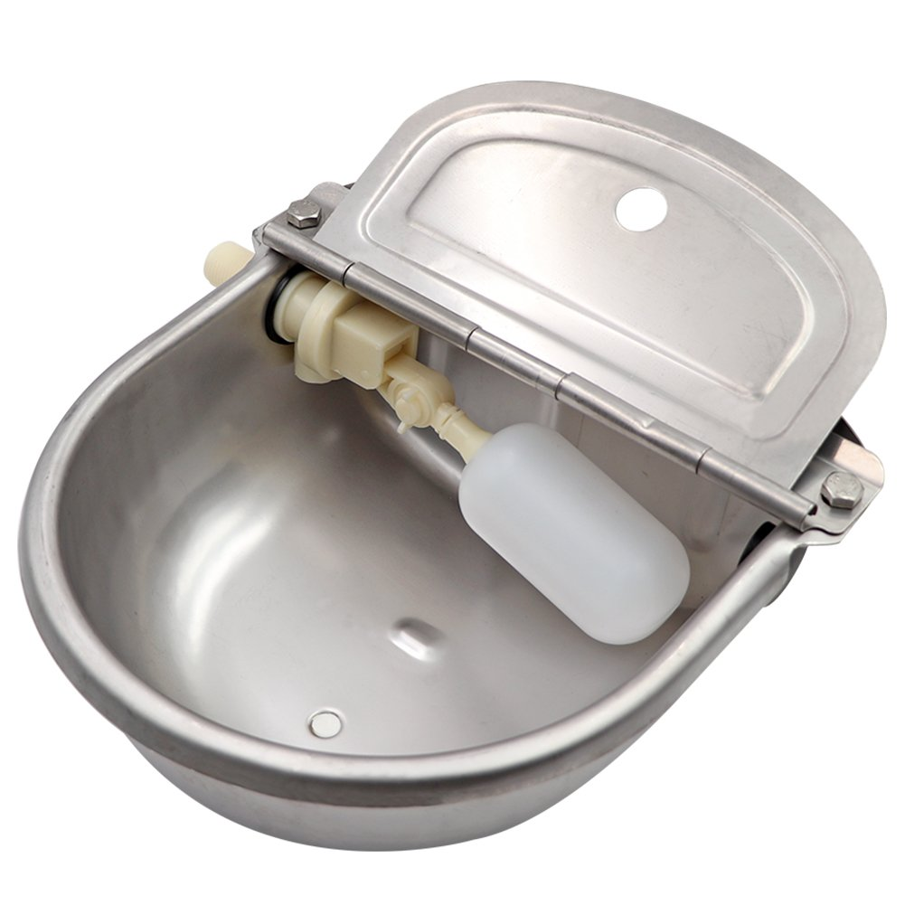 M.Z.A Stainless Steel Automatic Waterer Bowl with Float Valve Water Trough for Livestock Horse Cattle Goat Pig (with Drainage Hole)