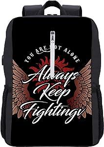 Supernatural Jared Padalecki Keep Fighting Backpack Daypack Bookbag Laptop School Bag with USB Charging Port