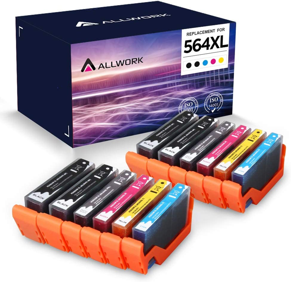 ALLWORK Compatible 564 XL Ink Cartridge Replacement for HP 564XL Combo Pack for HP Photosmart 7520 7510 7525 6515 6510 5520 5510 5514 4620 3520 D7560 B8550 B209a C410 C6380 12-Pack (4K/2PK/2C/2M/2Y)