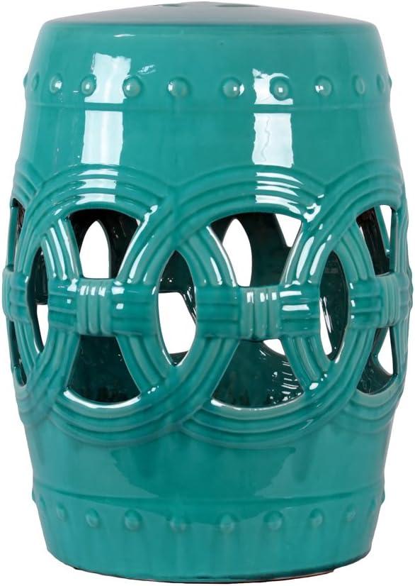 Urban Trends 23208 Decorative Ceramic Garden Stool, Turquoise