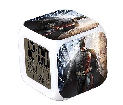 QIANXIAN Batman Alarm Clock Despertador Retroiluminación Colorido Digital Alarm Clock atenuador Relojes de luz Nocturna Suave