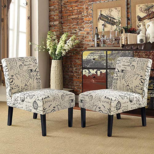 Harper&Bright Designs Upholstered Armless chair Set of 2 Accent Living Room Chair, Beige/Script