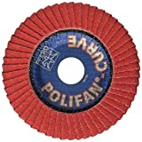 PFERD 67234 Polifan PFR Curve Radial Type Flap Disc, Ceramic Oxide, 4-1/2'' Diameter, 7/8'' Arbor Hole, 13300 rpm, 60 Grit