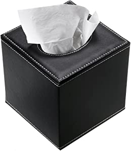 Sumnacon Stylish PU Leather Tissue Box Holder, Square Napkin Holder Pumping Paper Case Dispenser, Facial Tissue Holder with Magnetic Bottom for Home Office Car Automotive Decoration Black