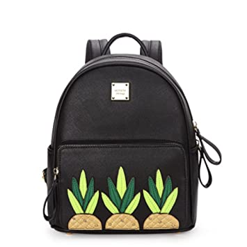 Kangkang @ Ms han edition backpack small and pure and fresh pineapple fruit bag patch PU bag backpack rivet (black)