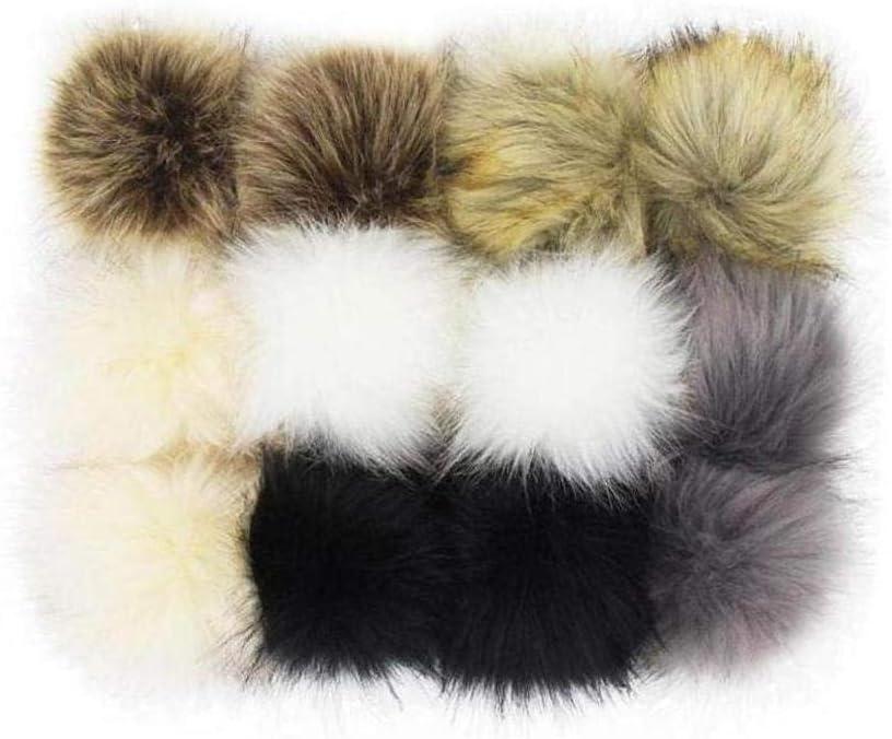 LAANCOO 12 Piezas 4 Pulgadas de la Piel de imitaci/ón Mullido Pompones Lovely Faux Bola Fox para Sombreros Gorros Zapatos encantos Bufandas Llaveros Bolsa