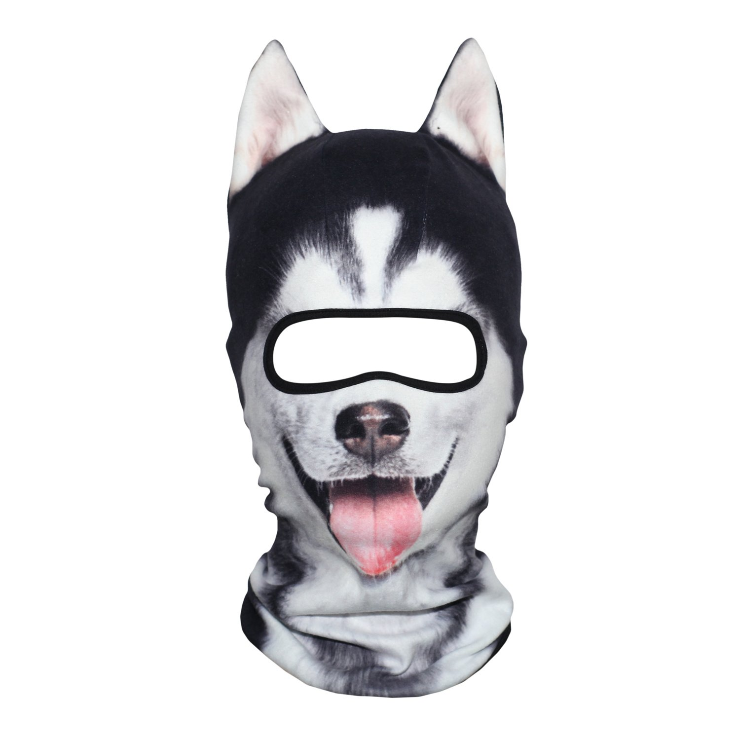 AXBXCX 3D Animal Ears Fleece Thermal Neck Warmer Windproof Hood Cover Face Mask Protection for Ski Snowboard Snowmobile Halloween Winter Cold Weather Siberian Husky MDD-02